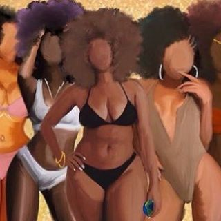 5 black women natural bathing suit
